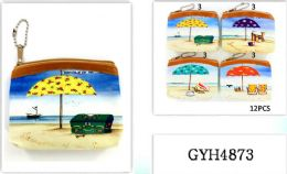48 Units of Coin Purse Assorted Beach Scenes - Coin Holders & Banks