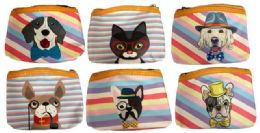 48 Units of Coin Purse Pastel Stripe Assorted Puppy Design - Coin Holders & Banks