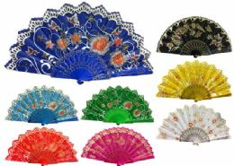 48 Units of Hand Fan With Flower And Butterfly Design Assorted - Novelty & Party Sunglasses