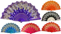 48 Units of Hand Fan With Glittery Butterfly Design Assorted Colors - Novelty & Party Sunglasses