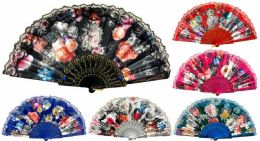 48 Units of Hand Fan With Flowers And Lace Assorted Colors - Novelty & Party Sunglasses