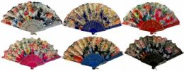48 Units of Colorful Fan With Assorted Flower Design - Novelty & Party Sunglasses