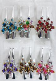 48 Units of Metal Hair Clamp Rhinestone Flower Design - Hair Products
