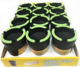 48 Units of Black Jumbo Butt Bucket with Glow in the Dark Rim - Ashtrays