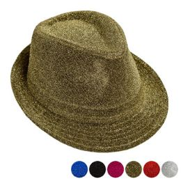 48 Units of Disco Glitter Costume Fedora - Fedoras, Driver Caps & Visor