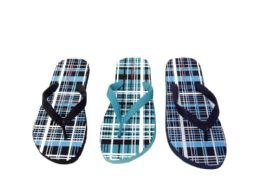 36 Units of MENS FLIP FLOPS WITH CHEQUERED PRINT - Men's Flip Flops and Sandals