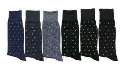 288 Units of Men's Casual Crew Dress Socks - Dot Print - Size 10-13 - Mens Crew Socks