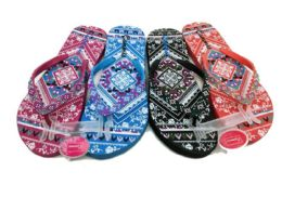 48 Units of Modern Womens Flip Flop With Potpourri Print - Women's Flip Flops