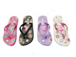 48 Units of Womens Colorful Flip Flops With Glittering Straps - Women's Flip Flops