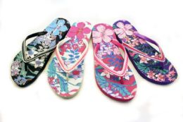 48 Units of Womens Flowery Flip Flops With Decorative Straps - Women's Flip Flops