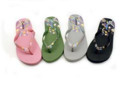 48 Units of Womens Soothing Flip Flops With Flower Print - Women's Flip Flops