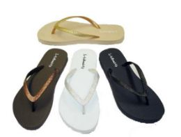 48 Units of Cammie Womens Flip Flops With Glittering Straps - Women's Flip Flops