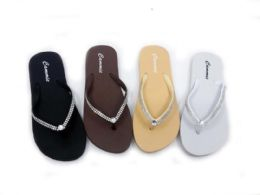 48 Units of Classy Women' Flip Flops With Rhinestone Straps - Women's Flip Flops