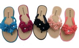36 Units of Women Sandals With Flowers And Rhinestone - Women's Flip Flops