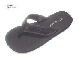 48 Units of WOMENS SEQUIN BLACK SANDALS - Women's Sandals