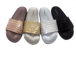 18 Units of Cammie Slide On Glittering Sandals For Women In Black - Women's Sandals