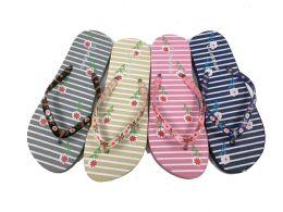 48 Units of Cute Womens Flip Flops With Flower Print - Women's Flip Flops