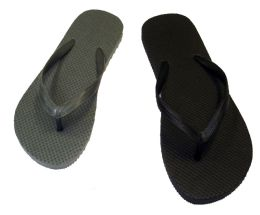 48 Units of Womens Basic Flip Flops In Black And Grey - Women's Flip Flops