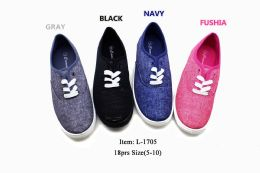18 Units of Street Style Women Canvas Sneaker Shoes With Laces In Black - Women's Sneakers