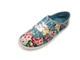 18 Units of Women Canvas Sneakers With Lace Closure And Floral Print In Light Blue - Women's Sneakers