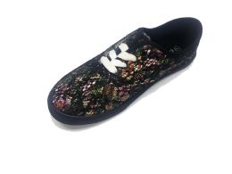 18 Units of Mesh Design Women Sneakers With Floral Print In Black - Women's Sneakers