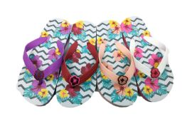 48 Units of Flower Print Cute Flip Flops For Girls - Girls Flip Flops