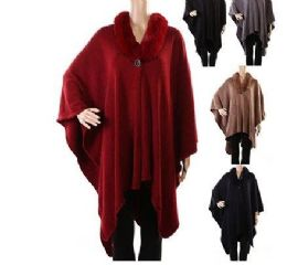 18 Units of WOMENS POLYESTER WINTER CAPE WITH FUR COLLAR ASSORTED COLORS - Winter Pashminas and Ponchos