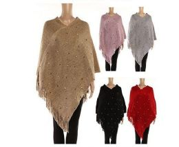 24 Units of WOMENS POLYESTER WINTER CAPE WITH FRINGES AND STUDS - Winter Pashminas and Ponchos