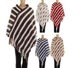 24 Units of Womens Polyester Winter Cape Striped With Fringes - Winter Pashminas and Ponchos