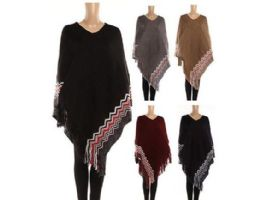24 Units of WOMENS POLYESTER WINTER WARM CAPE ZIG ZAG WITH FRINGES - Winter Pashminas and Ponchos