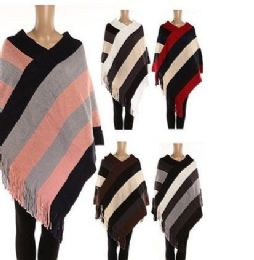 24 Units of WOMENS POLYESTER WINTER WARM CAPE WIDE STRIPE WITH FRINGES - Winter Pashminas and Ponchos