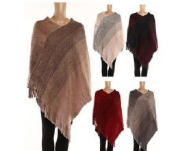 24 Units of WOMENS POLYESTER WINTER WARM CAPE TEXTURED WITH FRINGES - Winter Pashminas and Ponchos