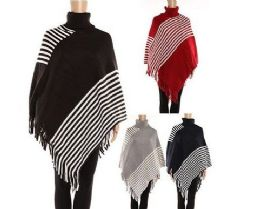 24 Units of WOMENS POLYESTER WINTER WARM CAPE STRIPED WITH FRINGES ASSORTED COLORS - Winter Pashminas and Ponchos