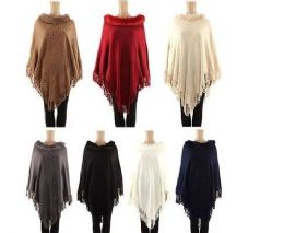 24 Units of Womens Polyester Winter Warm Cape Textured With Fringes And Faux Fur Collar - Winter Pashminas and Ponchos
