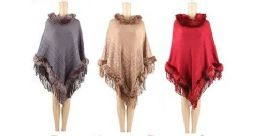 24 Units of WOMENS POLYESTER WINTER CAPE WITH FUR TRIMMINGS AND FRINGES IN ASSORTED COLORS - Winter Pashminas and Ponchos