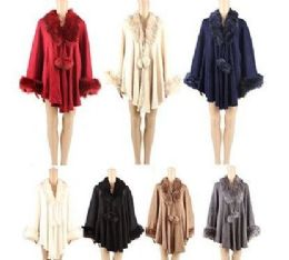24 Units of WOMENS POLYESTER WINTER CAPE WITH FUR TRIMMINGS AND POM POM IN ASSORTED COLORS - Winter Pashminas and Ponchos