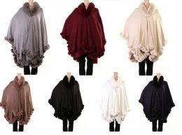 12 Units of WOMENS POLYESTER WINTER CAPE WITH FUR TRIMMINGS IN ASSORTED COLORS - Winter Pashminas and Ponchos