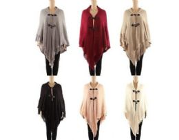 24 Units of WOMENS POLYESTER WINTER CAPE WITH FRINGES AND BUTTON CLOSURE ASSORTED COLOR - Winter Pashminas and Ponchos