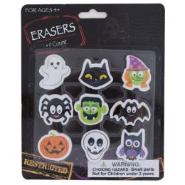 72 Units of 9ct Novelty Halloween Erasers On Blister Card - Erasers