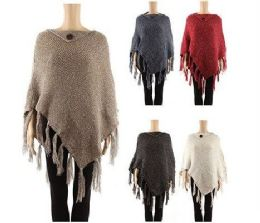 24 Units of WOMENS POLYESTER WINTER CAPE WITH FRINGES IN ASSORTED COLOR - Winter Pashminas and Ponchos
