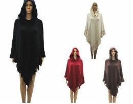 24 Units of WOMENS POLYESTER WINTER CAPE WITH FRINGES AND HOOD IN ASSORTED COLOR - Winter Pashminas and Ponchos