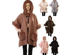 18 Units of WOMENS POLYESTER WINTER CAPE WITH WITH FUR POCKETS TRIMMINGS AND A HOOD ASSORTED COLOR - Winter Pashminas and Ponchos