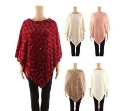 24 Units of Womens Sequin Glitter Poncho Pullover Cape In Assorted Color - Winter Pashminas and Ponchos