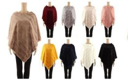24 Units of Womens Faux Fur Winter Pullover Cape In Assorted Color - Winter Pashminas and Ponchos