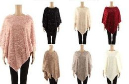 24 Units of Womens Elegant Cozy Poncho Sweater Assorted Color - Winter Pashminas and Ponchos