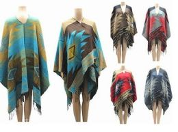 24 Units of Womens Winter Poncho Cape Fashion Pullover Cloak - Winter Pashminas and Ponchos