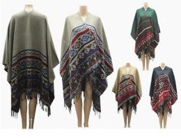 24 Units of Womens Winter Blanket Poncho Thick Oversized Shawl Cape Cardigan Fashion - Winter Pashminas and Ponchos