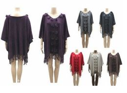 24 Units of Womens V Neck Batwing Sleeve Poncho Sweater Fringe Pom Pom Cape Cloak - Winter Pashminas and Ponchos