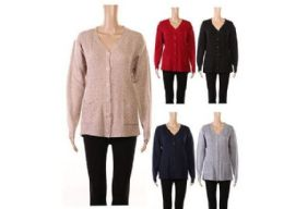 24 Units of Womens V Neck Button Down Knitwear Long Sleeve Soft Basic Knit Cardigan Sweater - Womens Sweaters & Cardigan