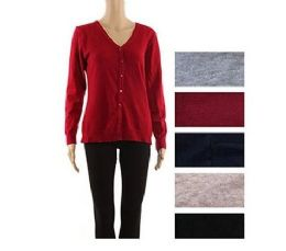 24 Units of Womens Long Sleeve Button Down Classic Knit Cardigan Sweater - Womens Sweaters & Cardigan